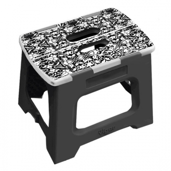 Vigar 32cm 折疊板凳 上部 黑與白圖樣 (L)