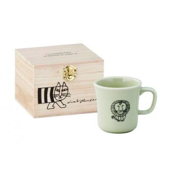 日本進口Lisa Larson聯名陶瓷馬克杯(含木盒)-獅子