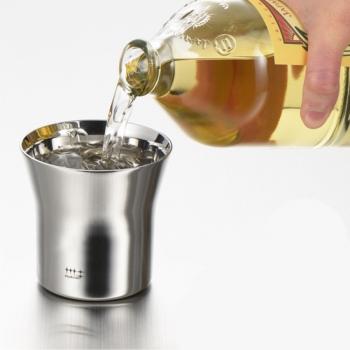 日本【Migakiya】不銹鋼雙層威士忌杯