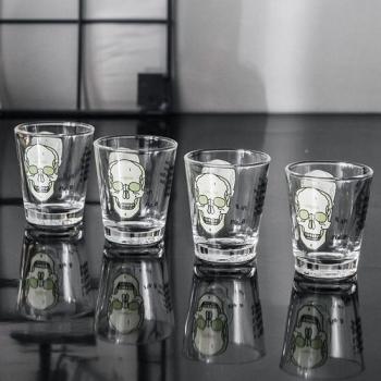 英國 CUBIC 英倫科學 專注思考骷髏玻璃杯四件組