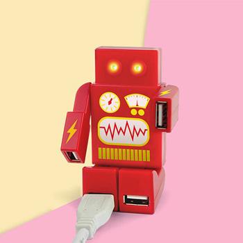 英國Mustard  USB HUB - 機器人(紅)