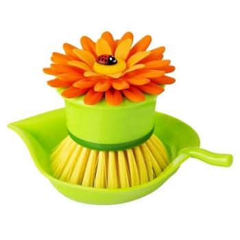 VIGAR 橘色花花短柄洗碗刷